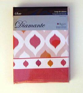 Parure de draps 3 pièces Coton/Polyester Diamant Rouge 150 cm