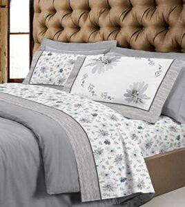 Parure de lit en coton à fleurs pour lit double (couleur 1, double)