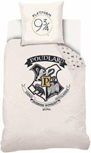 Parure de lit H Potter – Housse de Couette Harry P 100% Coton (140x200cm, Blanc)