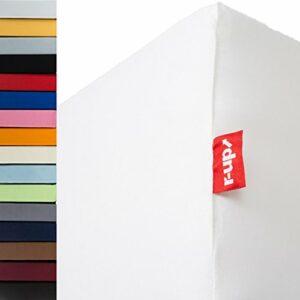 r-up Lot de 2 draps-housses de 140 x 200-160 x 220 à 35 cm – Hauteur : 95 % coton / 5 % élasthanne – 230 g/m² – Certifié Öko-Tex – Sans stress – Convient également pour les matelas hauts (blanc)
