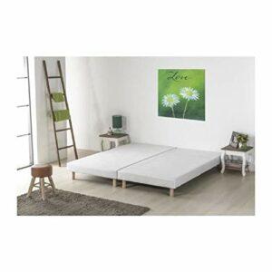 Sommiers tapissiers a Lattes x 2-180 x 200 – Bois Massif Blanc + Pieds Bois Verni Clair – DEKO DREAM Rakenne
