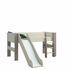 Steens Furniture for Kids Lit Mezzanine mi-Hauteur avec Toboggan, pin, Gris, 254 x 206 x 113 cm