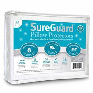 SureGuard Lot de 2 protège-oreillers 100 % imperméables, anti-punaises de lit, hypoallergéniques – Housses en coton éponge à fermeture éclair