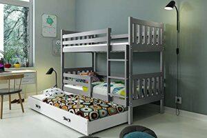 Trois enfants en bas âge élégant et robustes lits superposés, matelas, gain d'espace durable,Grey