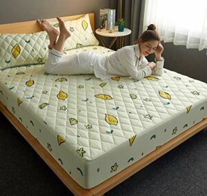 XLMHZP Profondeur-Protège-Matelas,Bed Mattress Thick Soft Pad Quilted Waterproof Mattress Protector Fitted Sheet Style Cover for Bed Comfort-D_120x200cm+30cm