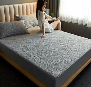 XLMHZP Protège Matelas Coton,Bed Mattress Thick Soft Pad Quilted Waterproof Mattress Protector Fitted Sheet Style Cover for Bed Comfort-K_150x200cm+30cm