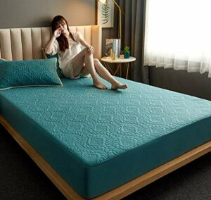 XLMHZP Respirant et Hypoallergénique Protège Matelas,Bed Mattress Thick Soft Pad Quilted Waterproof Mattress Protector Fitted Sheet Style Cover for Bed Comfort-E_180x200cm+30cm