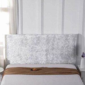 zyl Housse De Tête De Lit 140/160, Tissu Velours Stretch Doux, Protecteur Antipoussière pour Tête De Lit Rembourrée,White-160cm