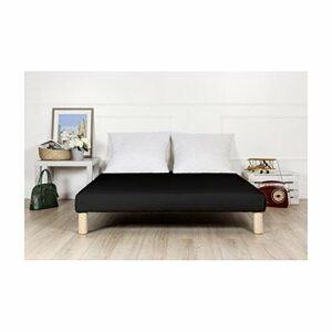 By sommiflex Sommier tapissier 130x190cm Noir Fabrique en France avec Pieds