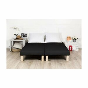 By sommiflex Sommier tapissier 200x200cm Noir Fabrication Francaise avec Pieds