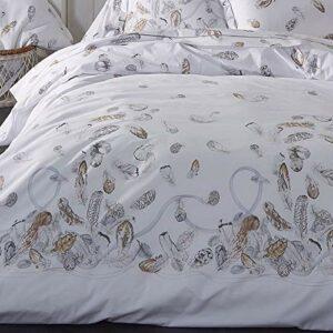 Linnea Housse de Couette 300×240 cm Percale Pur Coton Plumes