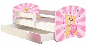 ACMA Lit enfant Bébé TIROIR MATELAS GRATUITE BLANC II (10 Nounours cœur rose, 160×80 cm + tiroir)