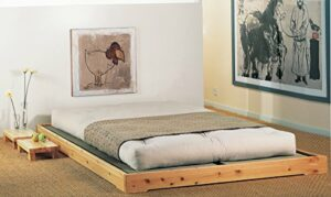 Cinius 'Lit en Bois modèle nokido 160x 200avec sommier à Lattes et tatamis Wenghè
