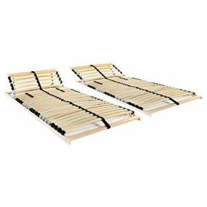 HUANGDANSP Sommiers à Lattes 2 pcs avec 28 Lattes 7 Zones 70×200 cm Meubles Lits Accessoires Lits Cadres de lit