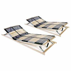 HUANGDANSP Sommiers à Lattes 2 pcs avec 42 Lattes 7 Zones 70×200 cm Meubles Lits Accessoires Lits Cadres de lit