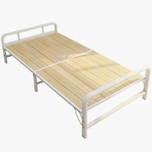 Lit pliant en bois massif Lit simple de rechange pour adulte, Lit de camping en plein air à cadre de lit en acier portable, Lit visiteur pleine grandeur, lit supplémentaire pour enfants