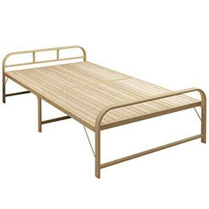 Lit visiteur simple avec lit simple pliable en bois massif, lit de repos pour adulte de bureau cadre de lit en acier lourd, lit supplémentaire pour enfants avec lit de camping portable