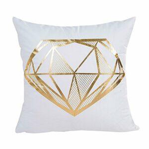 LONLY Taie d'oreiller carrée en polyester imprimé feuille d'or pour canapé-lit, décoration d'intérieur, moelleuse, douce, confortable et respirante. Dimensions : 45 x 45 cm (Blanc)