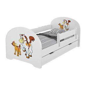 MEBLEX Lit pour enfant avec tiroirs et matelas en mousse de sécurité 160 x 80 cm pour chambre à coucher avec cadre de lit complet en MDF et tête de lit intégrée, Chevaux, 160x80cm