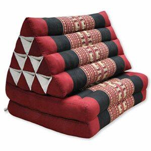 Wifash Coussin Triangulaire thaïlandais avec Matelas 2 Parties Pliables, Rouge/Noir avec éléphants (82702)