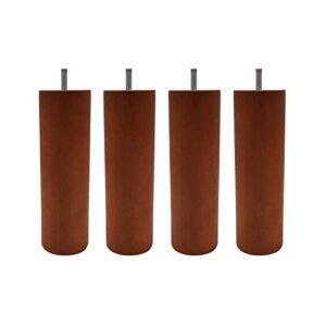 4 Pieds cylindriques Bois merisier 20 cm