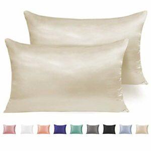 Adubor Lot de 2 taies d'oreiller en satin de soie pour cheveux et peau, hypoallergénique, anti-rides, super douces et luxueuses taies d'oreiller avec fermeture à enveloppe Queen:»20×30″ Cream Color