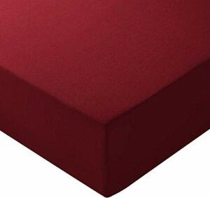 Amazon Basics Drap-housse en microfibre Bordeaux140x200x30cm