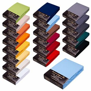 Avantgarde Drap-housse 180 x 200 – 200 x 220 cm – Hauteur 40 cm pour lit à sommier tapissier & lit à eau – Drap-housse env. 170 g/m² 1,1 kg – 100 % jersey de coton – Certifié Öko-Tex (13 bleu clair)