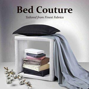 Bed Couture Drap Housse 100% Satin de Coton égyptien peigné – Bonnet de 38cm. Tissage très Fin, Toucher Doux et Soyeux, qualité hôtel Cinq étoiles. – Blanc 100 x 200 cm