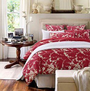 Brandream Paisley Luxe Imprimé Housse de couette et Shams 3PC Parure de lit Bohème Damas Médaillon Lit en coton égyptien en satin de coton (Twin, Rose), Coton, Red, 3pc-Full