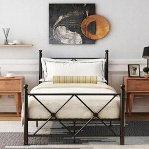 Cadre de lit simple Joycelzen en métal solide de qualité supérieure avec support à lattes métalliques, tête de lit et marchepied pour enfants, adolescents, adultes, 90 x 200 cm