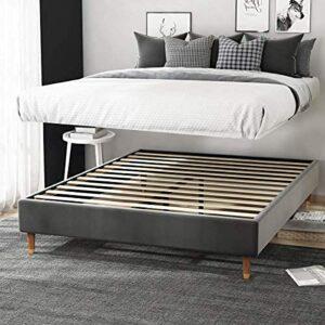 Cadre de lit tapissé de 33 cm avec sommier à lattes en bois, sans sommier tapissier