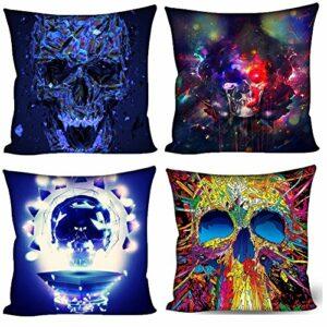 Coloranimal Home décoratif Taie d'oreiller couvertures Coque Tête de Mort Prints Housse de coussin Lot de 4, Skull Pattern-5, 18inchx18inch