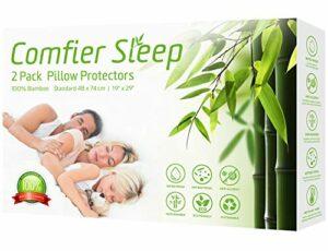 Comfier Sleep Protège-oreillers imperméables 48 x 74 cm avec Fermeture Éclair, Respirant, Anti-allergénique et 100% Bambou, Lot de 2, 48x74cm