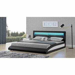 CONCEPT USINE Lit Brixton – Cadre de lit en Simili Noir avec LED integrees – 160x200cm