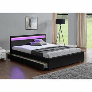 CONCEPT USINE Lit Enfield – Structure de lit en Simili Noir avec rangements et LED integrees – 140×190 cm