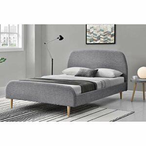 CONCEPT USINE Lit Sandvik Tissu – Cadre de lit scandinave Gris Clair avec Pieds en Bois – 140x190cm