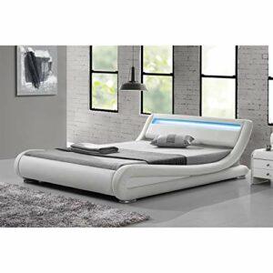 CONCEPT USINE Lit Seattle – Structure de lit Simili Blanc avec LED integrees – 140×190 cm