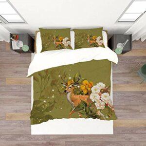 DEWUFAFA Ensemble de Couette en Polyester 3D Ensemble de literie de Cerfs 1 Couvre-oreillette + 2 taies d'oreiller (Color : Style01, Size : King:94″x87″)