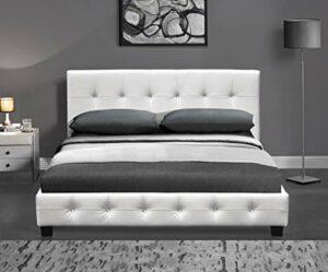 Drinine Kalifornia Lit complet, lit de luxe, lit d'hôtel, lit double capitonné, cadre de lit design avec sommier à lattes en cuir synthétique, meuble avec housse en cuir synthétique 160 x 200 cm Blanc