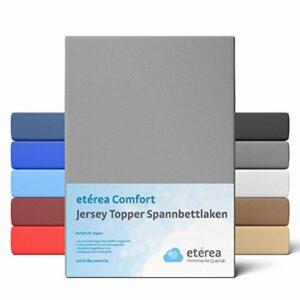 Etérea Drap-housse en jersey pour lit à sommier tapissier 100 % coton pour une hauteur de 5 à 10 cm, Coton, gris, Topper 90×200 – 100×200 cm
