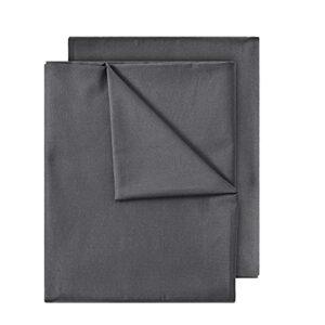 GREEN MARK Textilien Lot de 2 draps classiques 100 % coton sans élastique Plusieurs tailles et couleurs Taille : 150 x 250 cm, gris anthracite