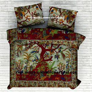 Handicraft-Palace Arbre de la Vie Indienne Coton Reine Housse de Couette avec Housse de Couette Bohème Hippie Couvre Lit avec Couette Fait à la Main