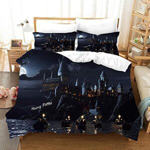 Harry-Potter Housse de Couette 220×240 cm,Parure de lit Sets Enfants,Parure de lit avec Housse de Couette et taie d'oreiller en Microfibre,Impression Numérique 3D