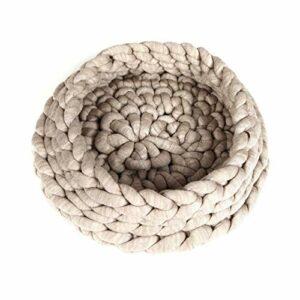 Homemania Lit pour Animaux Nest Beige en Fil de Coton Acrylique, Corde, 50 x 50 x 15 cm – Beige