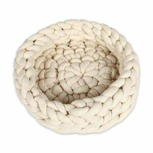 Homemania Lit pour Animaux Nest Crème en Fil de Coton Acrylique Corde 50 x 50 x 15 cm – Crème