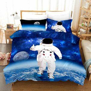 Housse de Couette 140×200 pour Adolescents, Filles Linge de lit et oreillers pour 1 Personne avec Fermeture Éclair Astronaute Marchant
