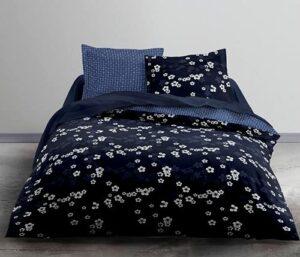 Housse de Couette réversible 220×240 Coton 57 Fils (Bleu Floral)