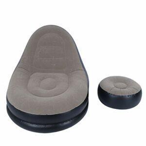 Hyuduo Chaise de Canapé Moderne, Fauteuil Inclinable Pliant Gonflable, Chaise de Canapé de Flocage, Canapé de Loisirs à Domicile, avec Repose-Pieds pour Salon Balcon Jardin