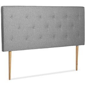 IDMarket – Tete de lit scandinave capitonnée Alta 140 cm Tissu Gris Clair
